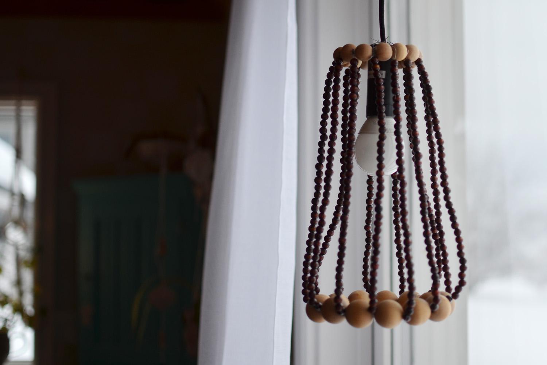 DIY Lampskärm träkulor